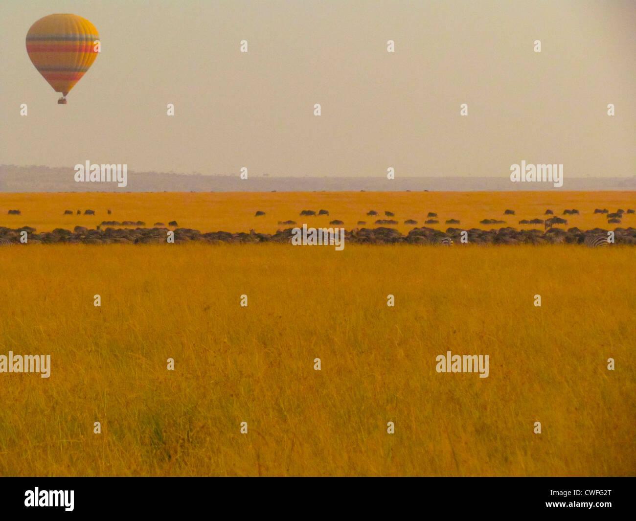 Baloon over the Masai Mara - Stock Image