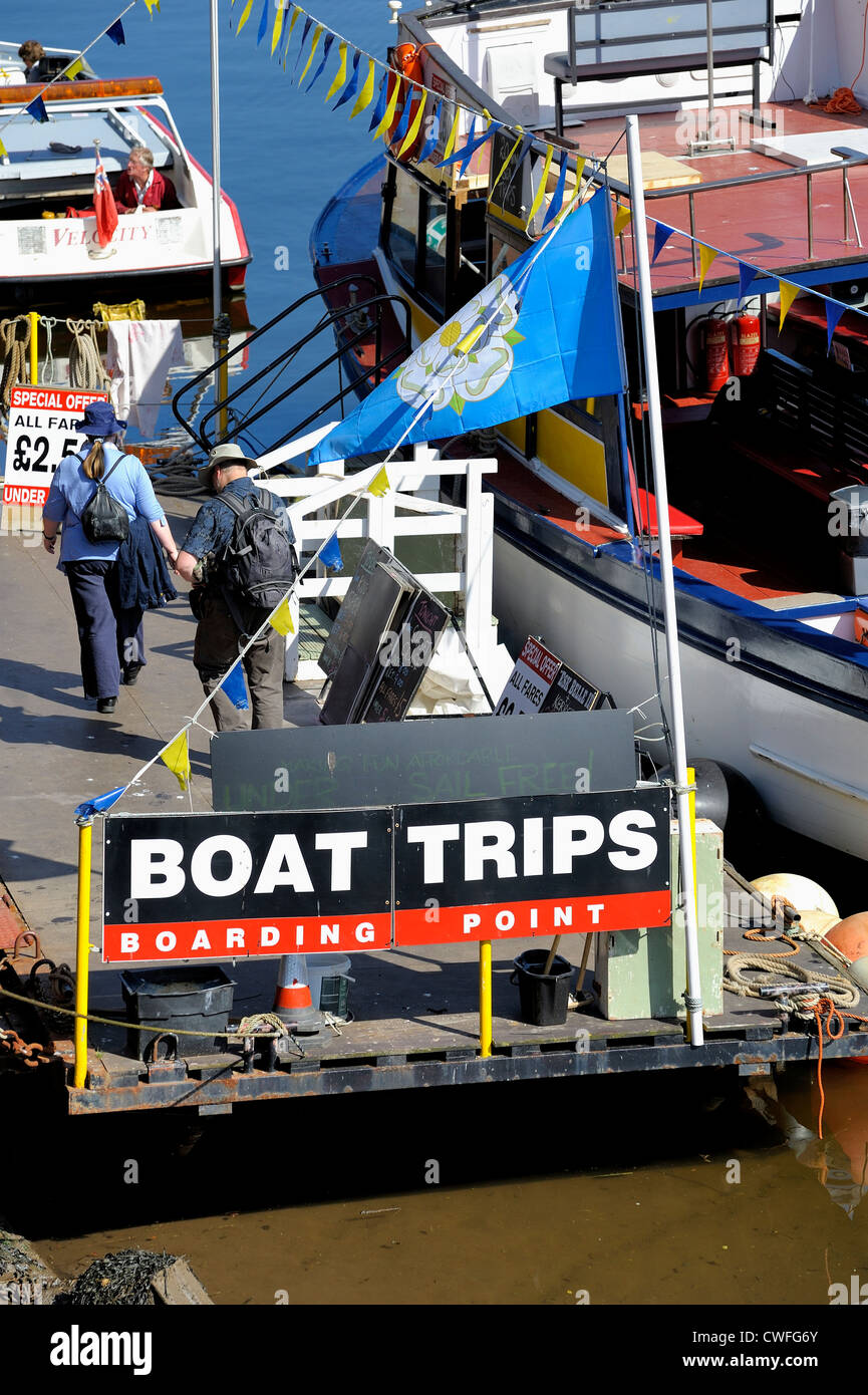 seaside holiday boat trips from whitby harbour north yorkshire england uk - Stock Image
