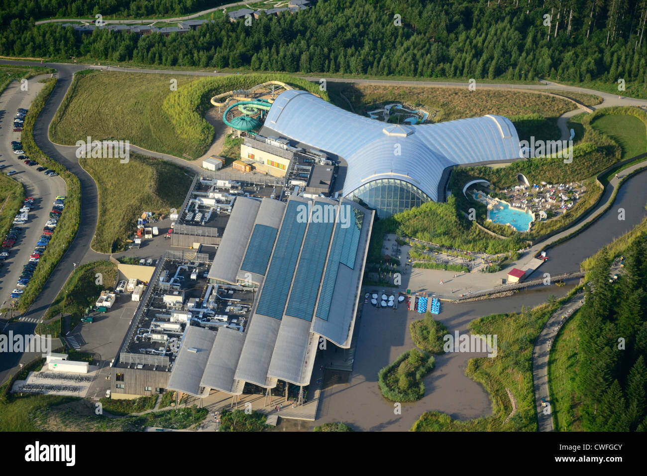 Aerial view of trois forets holiday park by center parcs for Piscine center parc moselle
