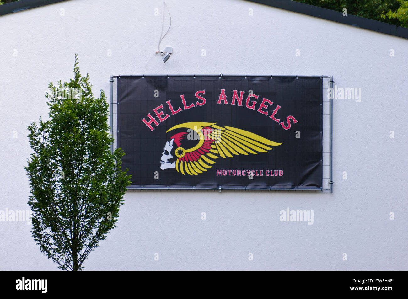 Hells Angels Motorcycle Club gang clubhouse with emblem on house front - Heilbronn Biberach Germany Europe Stock Photo