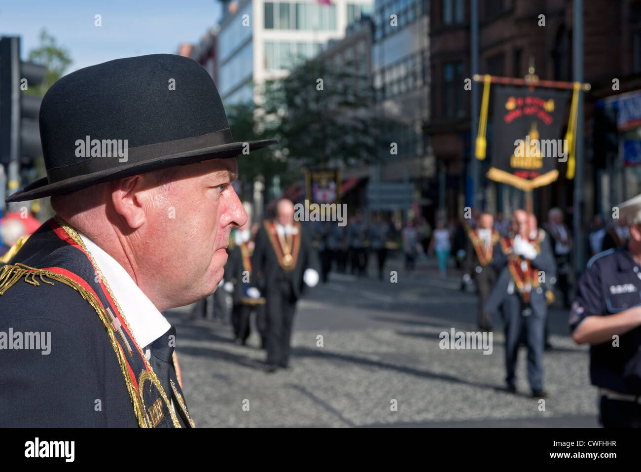 Member of the Orange Order at march in Belfast. - Stock Image