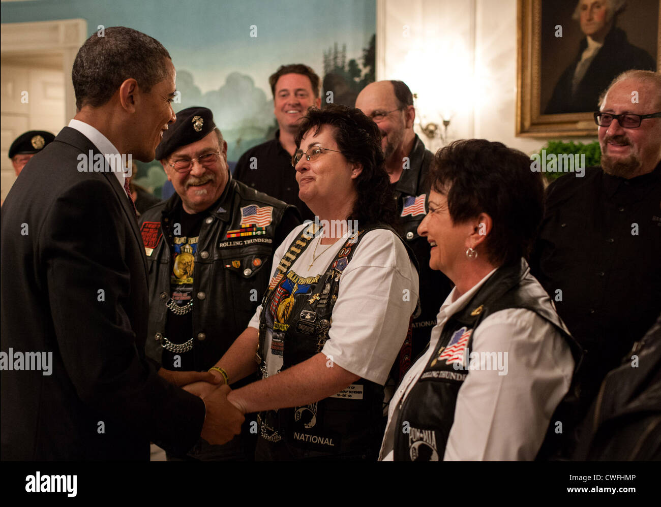 President Barack Obama greets members of the Rolling Thunder in the Diplomatic Reception Room of the White House, - Stock Image