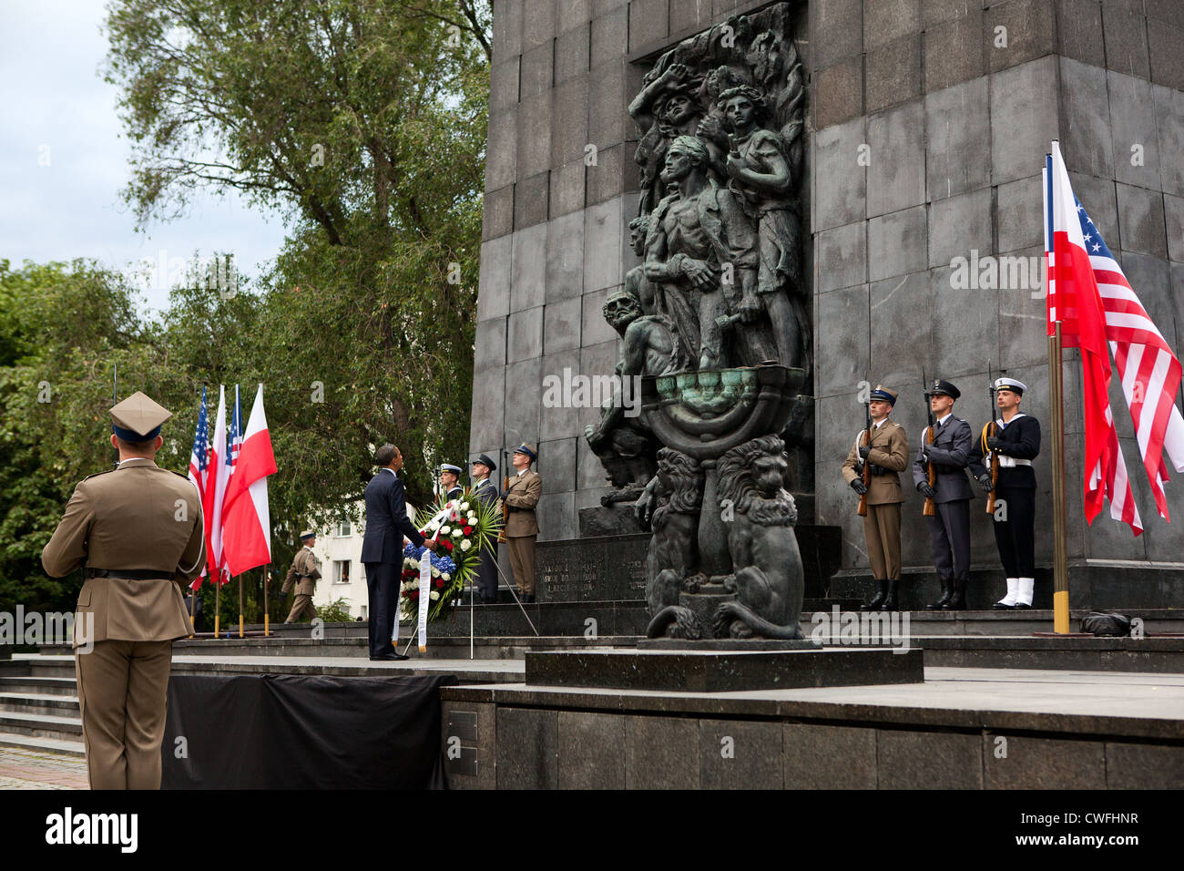 President Barack Obama lays a wreath at the Warsaw Ghetto Memorial in Warsaw, Poland, May 27, 2011. (Official White - Stock Image