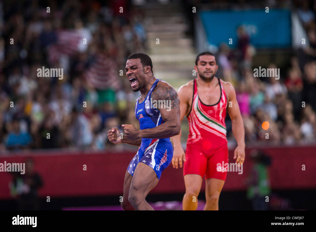 e2613a25859a86 Jordan Ernest Burroughs (USA) wins the gold medal in Men s 74kg Freestyle  Wrestling at the Olympic Summer Games