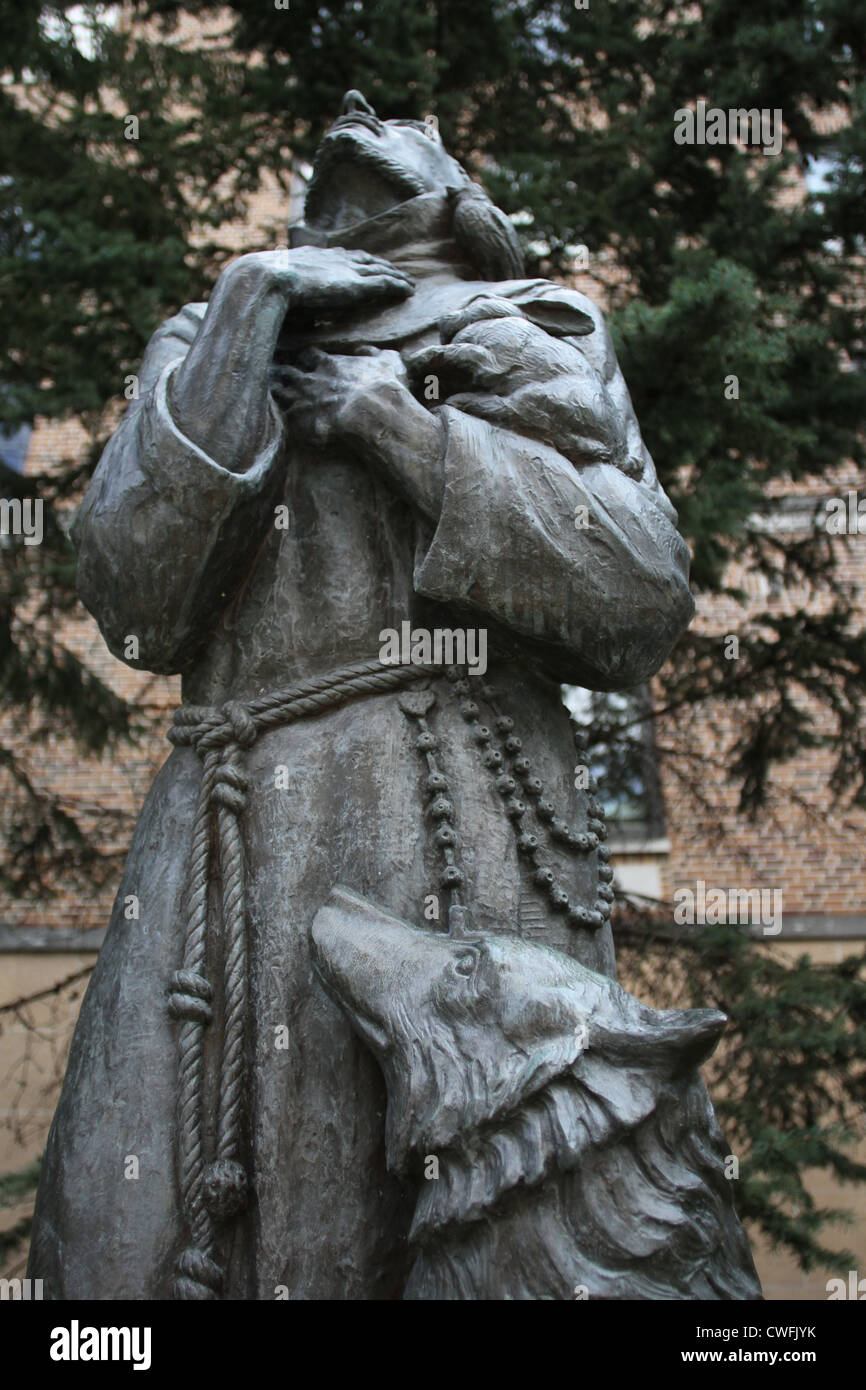 A statue of St. Francis at St. Mary's hospital in Rochester, Minnesota. Stock Photo