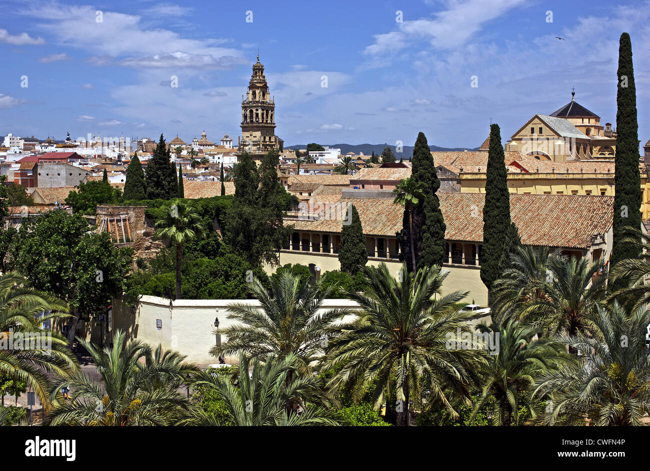 Spain. Andalusia. Cordoba. Panorama of the city with the bell tower of the Mosque-Cathedral. Stock Photo