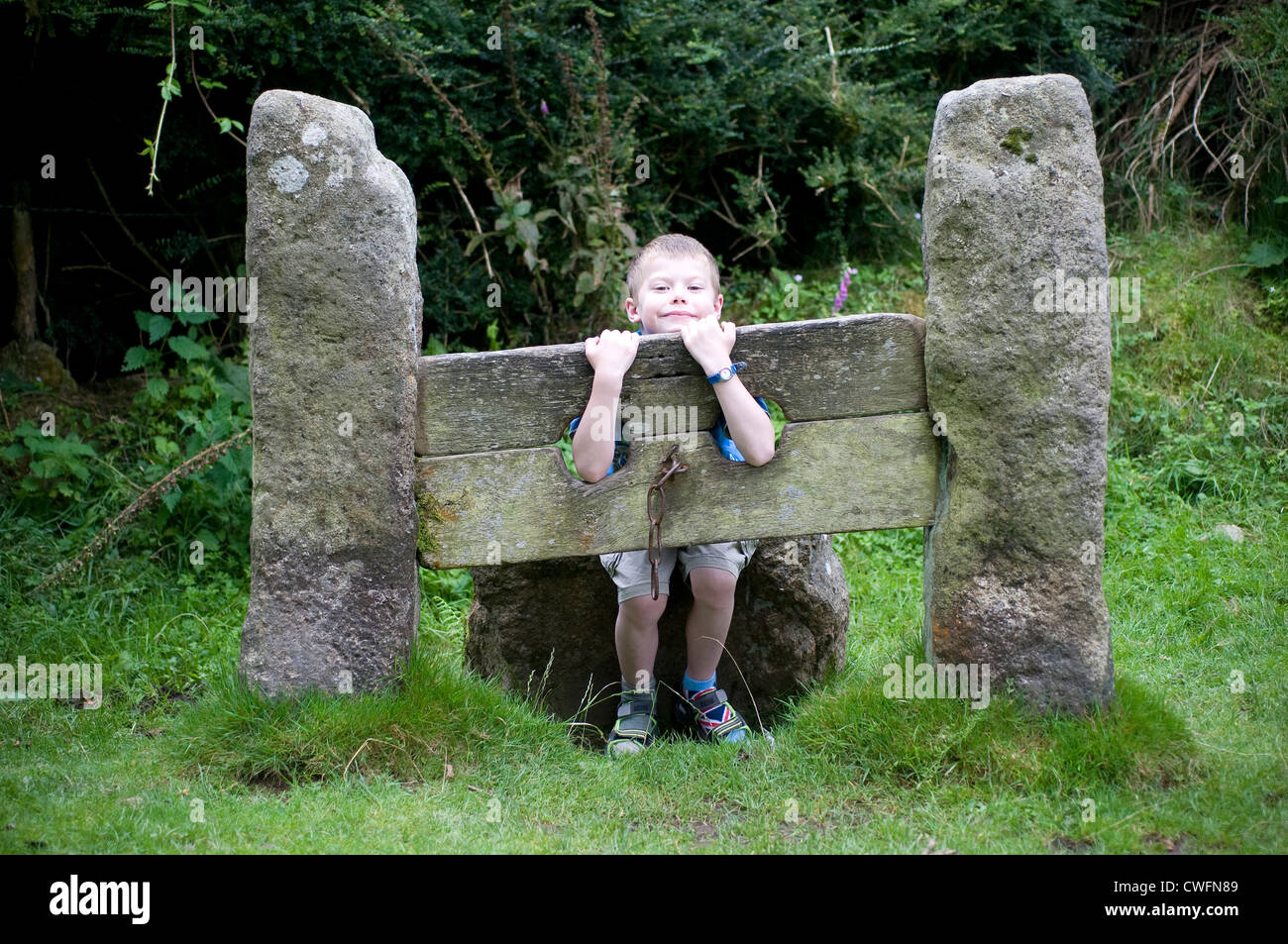 village stocks, authority, crime, criminal, england, humiliation, medieval, old, pain, penalty, police, punishment, - Stock Image