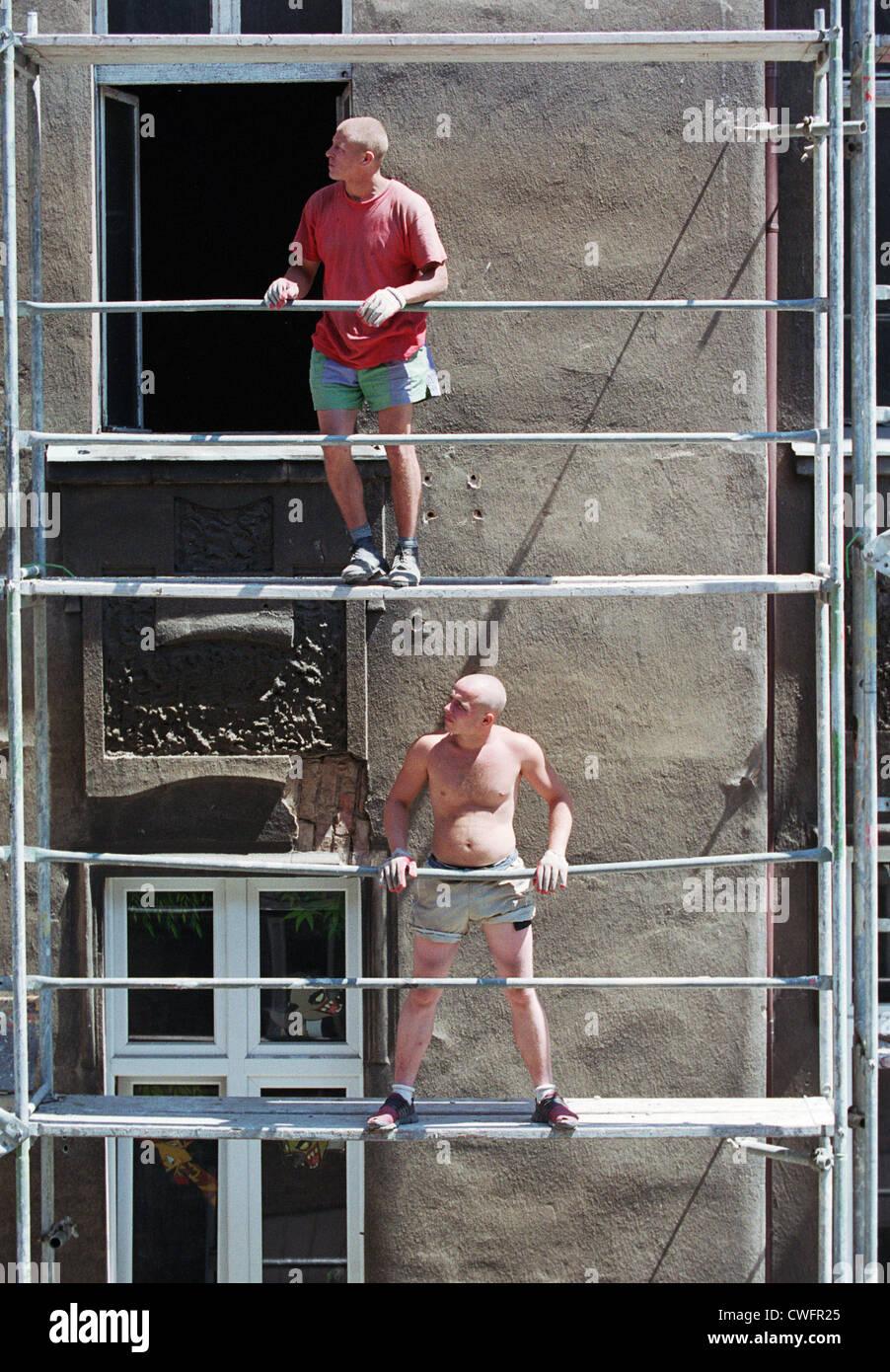 Geruestbauer on a scaffold, Posen (Poznan), Poland - Stock Image