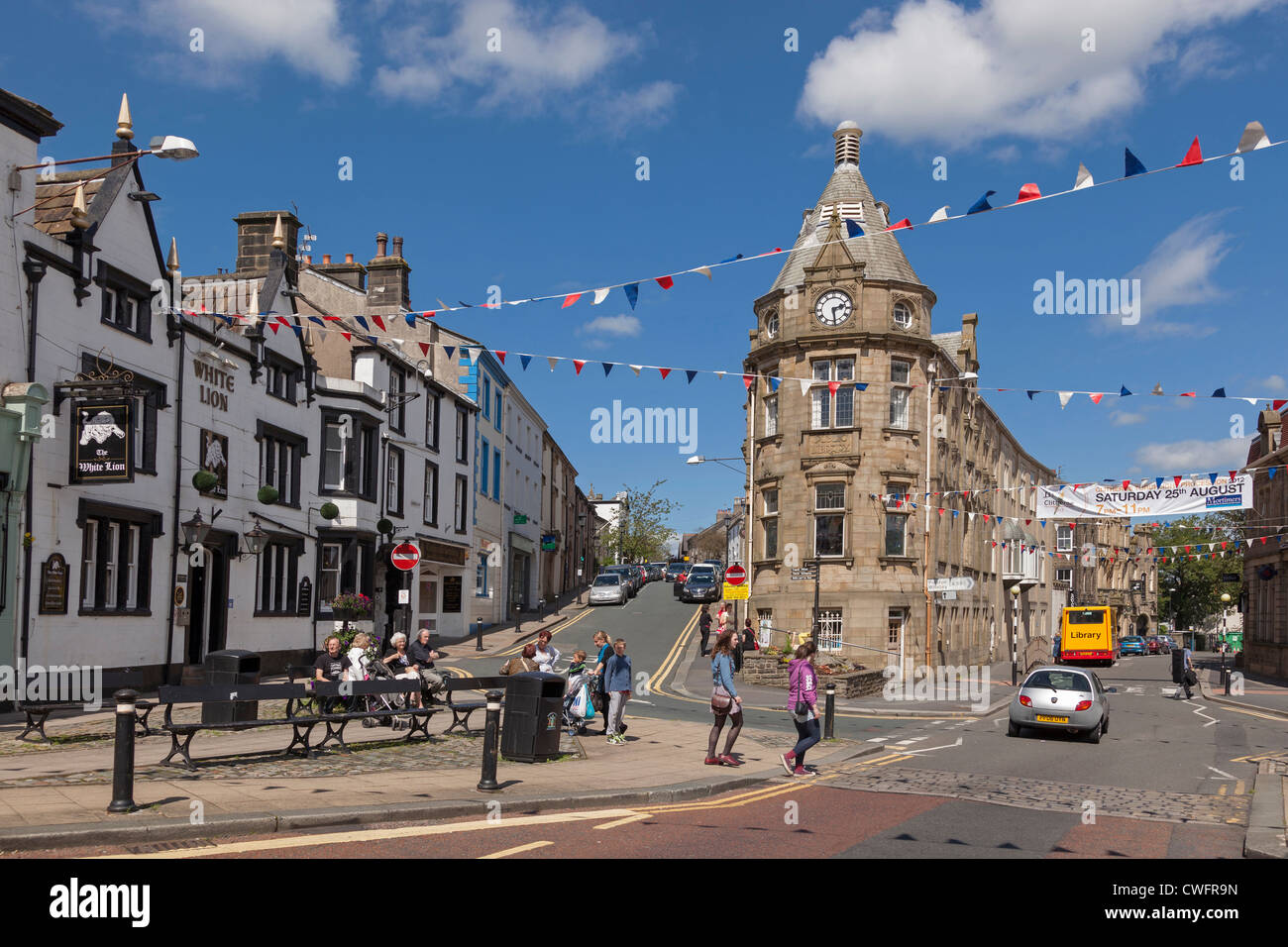 The centre of the town of Clitheroe in Lancashire Forest of Bowland. - Stock Image