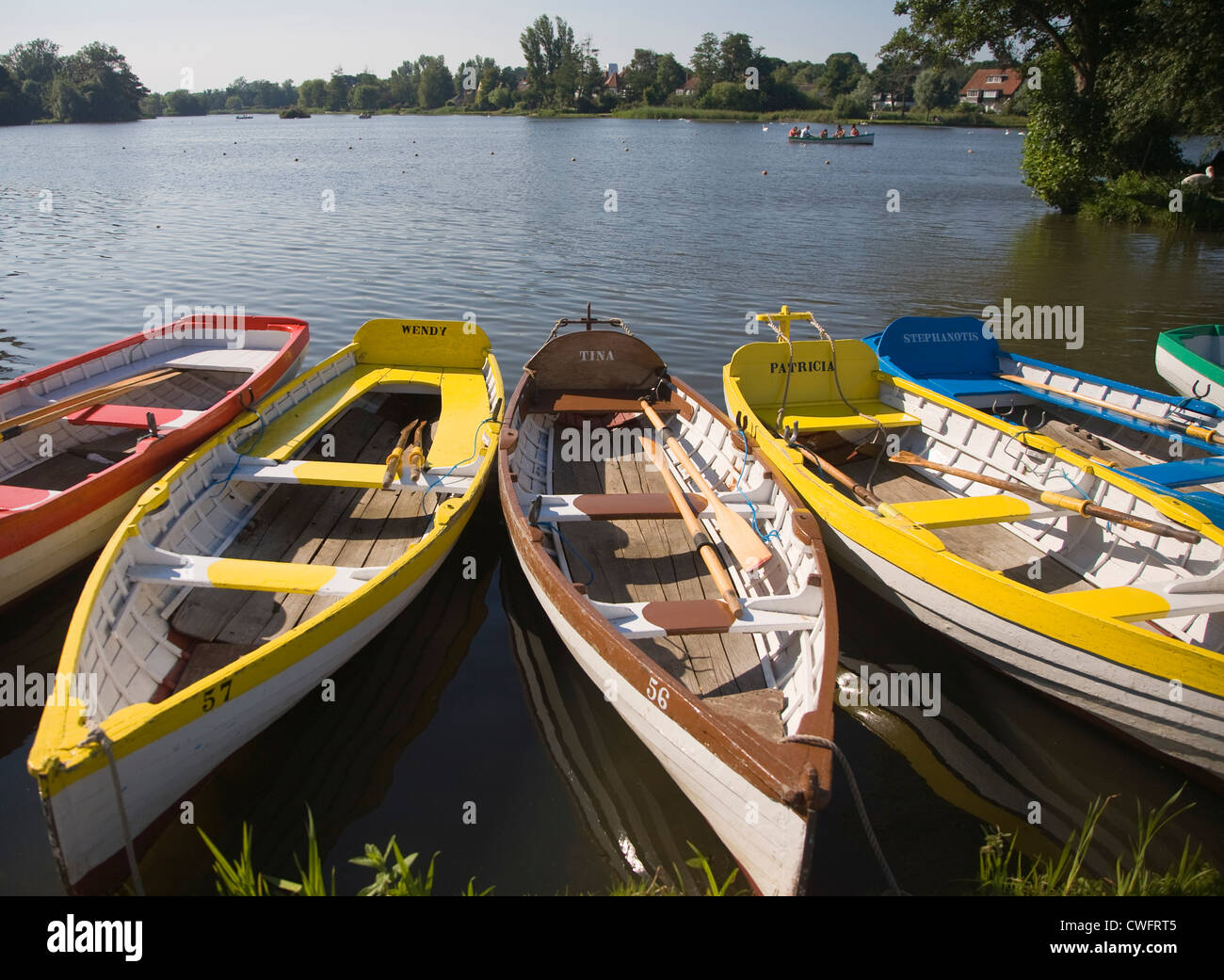 Rowing boats Meare boating lake Thorpeness Suffolk England - Stock Image