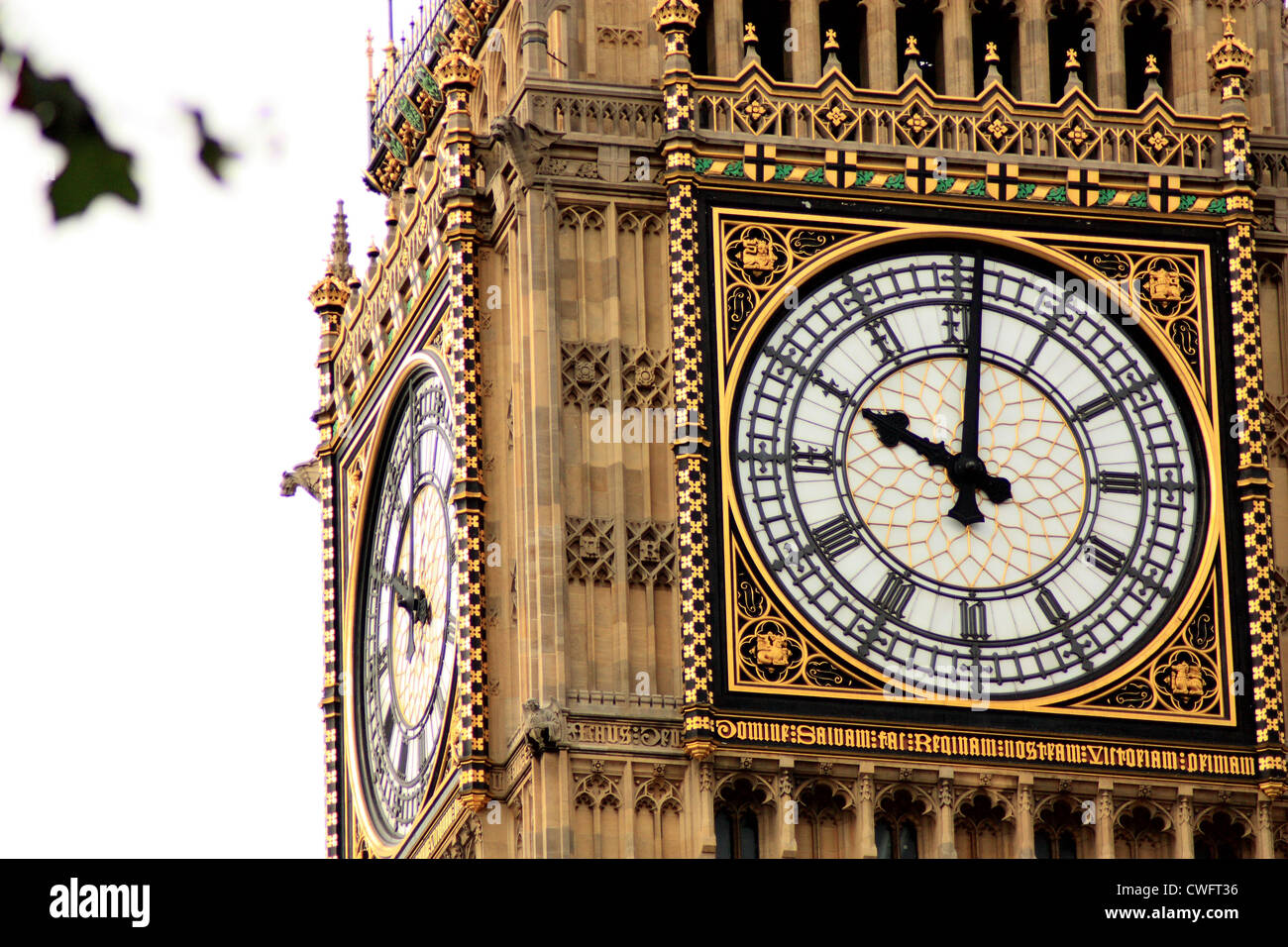 Face of the clock on the clocktower of the Palace of Westminster - Stock Image