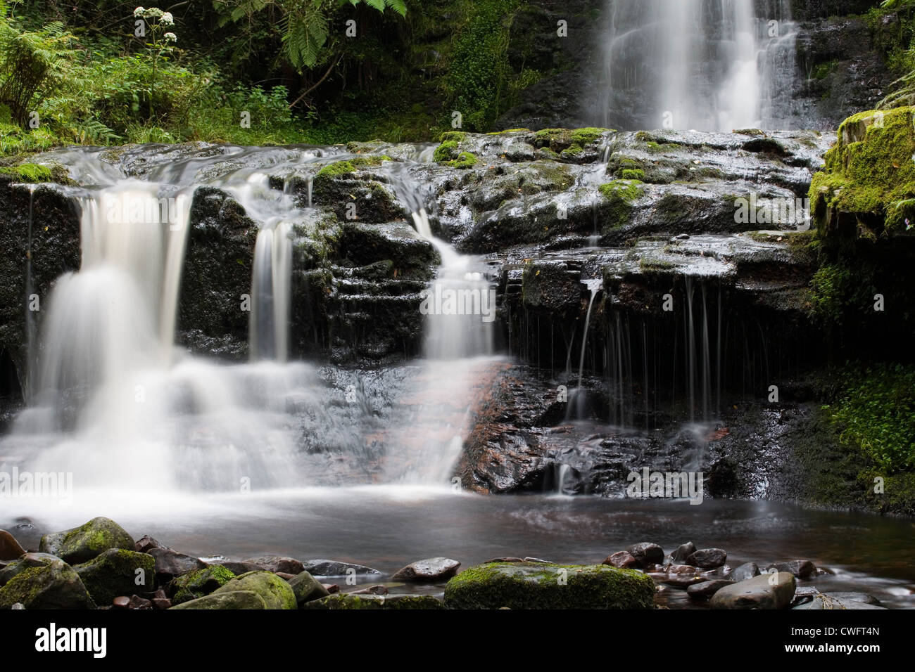 Waterfall at Blaen-y-glyn Stock Photo