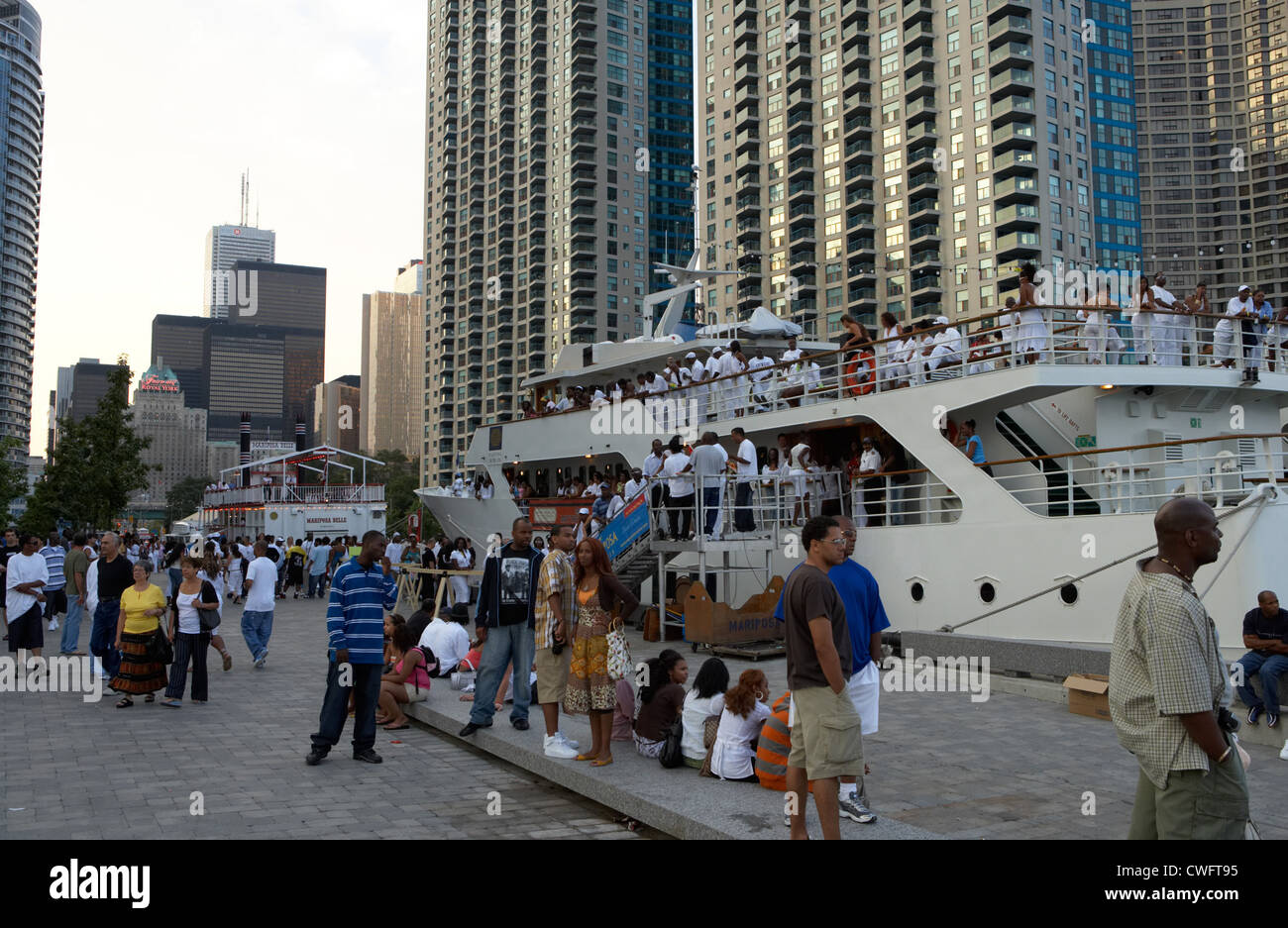 Toronto - boats surrounded by skyscrapers at Harbourfront Centre - Stock Image