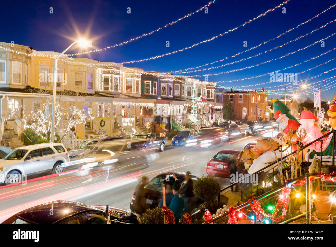 hampden neighborhood 36th street decorated for christmas baltimore maryland stock image - Christmas In Baltimore