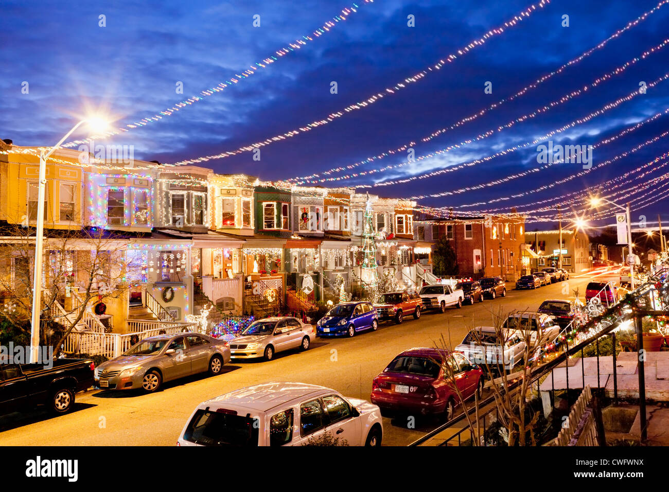 hampden neighborhood 34th street decorated for christmas baltimore maryland stock image - Christmas In Baltimore