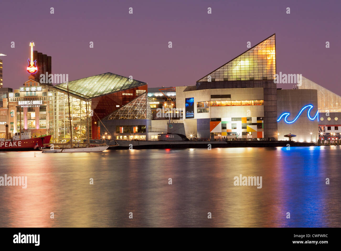Inner Harbor, Baltimore, Maryland includes National Aquarium - Stock Image