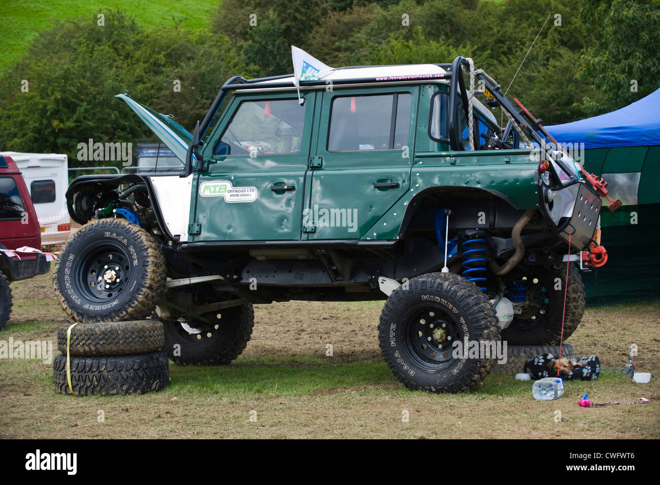 Land Rover Defender Dashboard >> Highly modified 4x4 Land Rover Defender 110 for extreme offroading at Stock Photo: 50136694 - Alamy