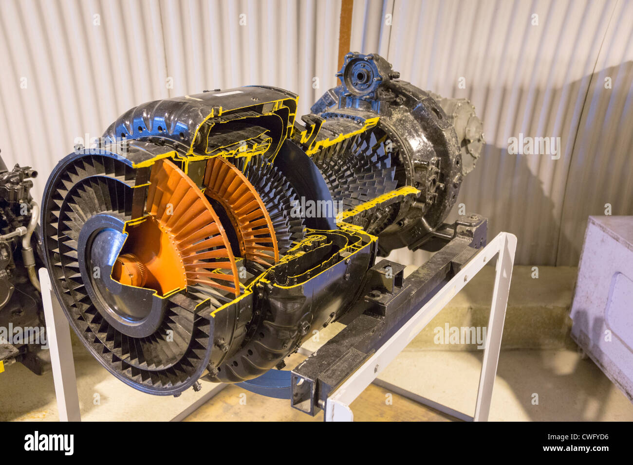 Newark Air Museum, Nottinghamshire, UK. Jet engine cutaway cut away - Stock Image