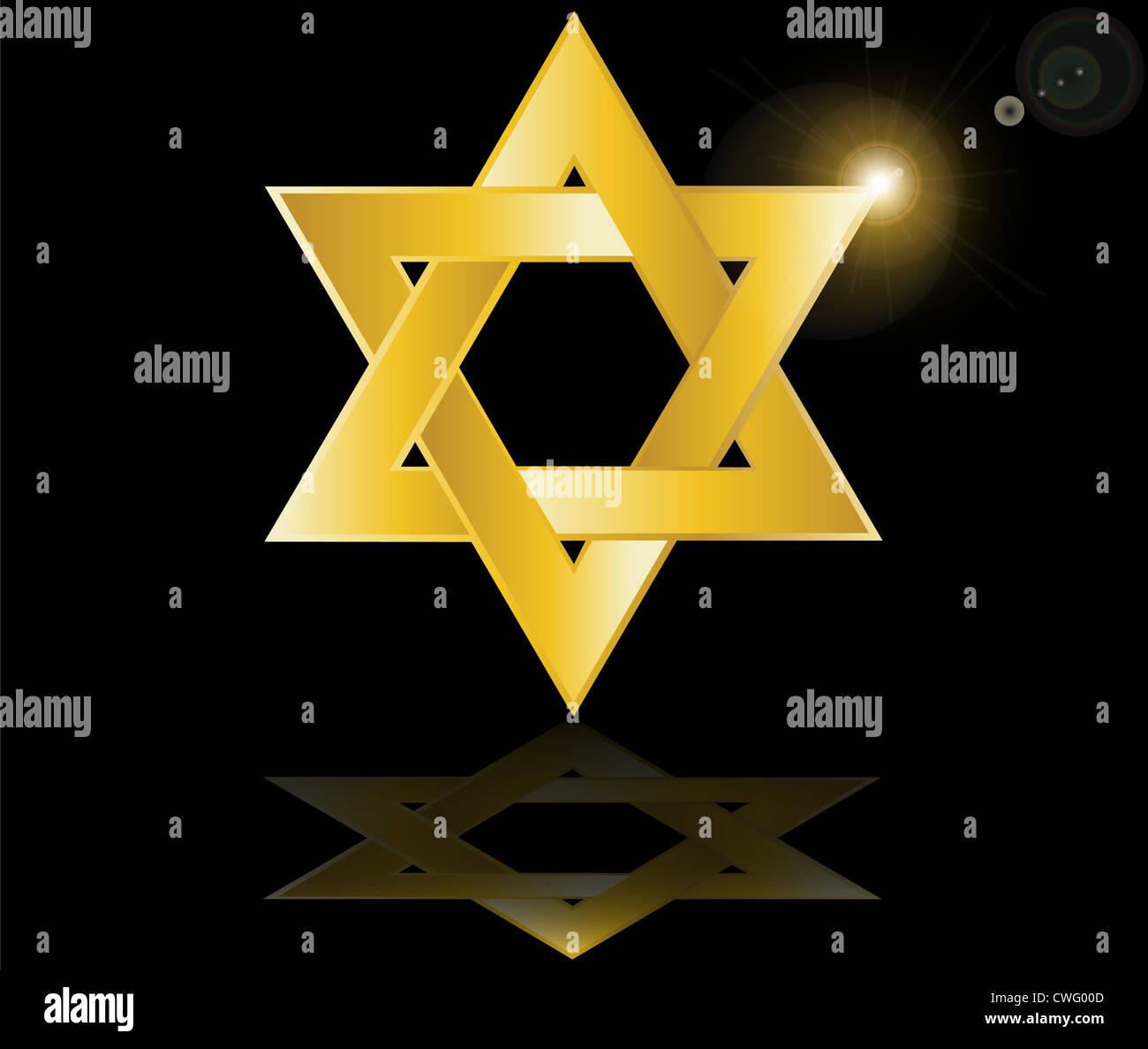 hebrew Jewish Star of magen david vector illustration - Stock Image