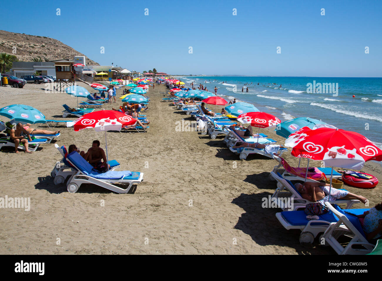 Episkopi Beach near the British Services Base of SBA Akrotiri is popular with British families based tin Cyprus. - Stock Image