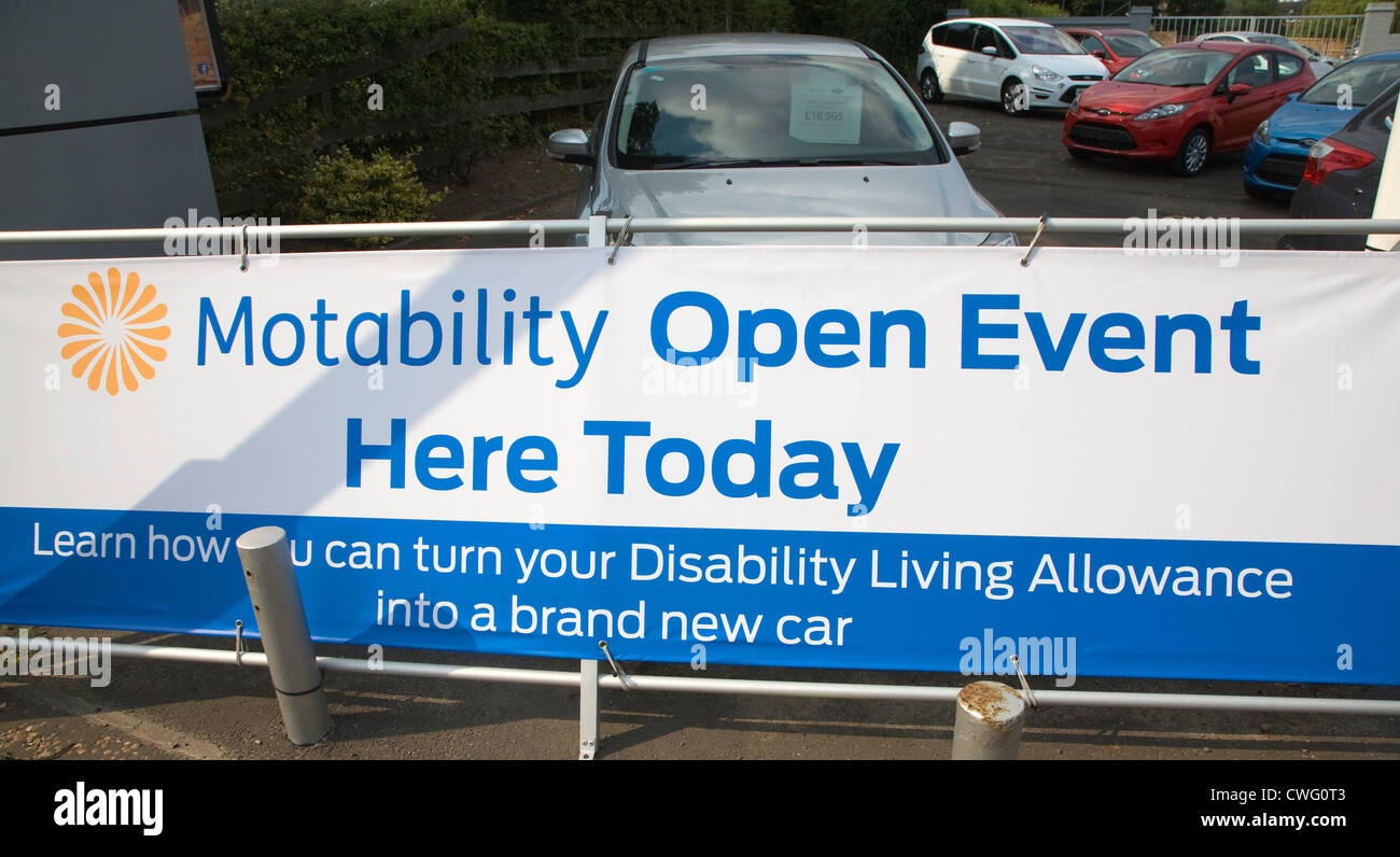 Sign Motability Open Event Here Today - Stock Image