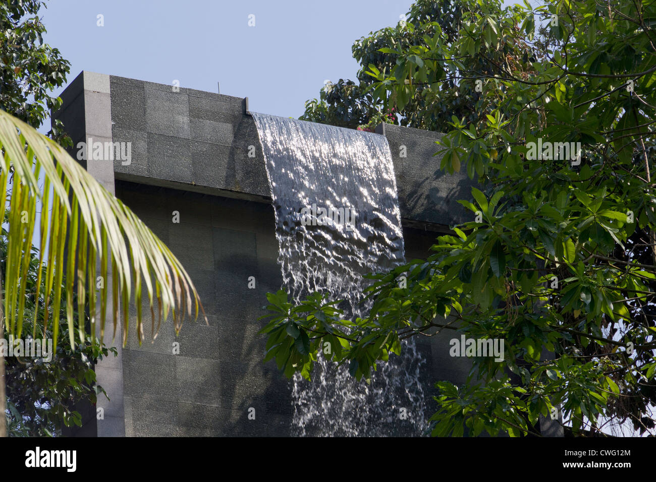 Waterfall at the swimming pool at the siloso beach resort - Siloso beach resort swimming pool ...