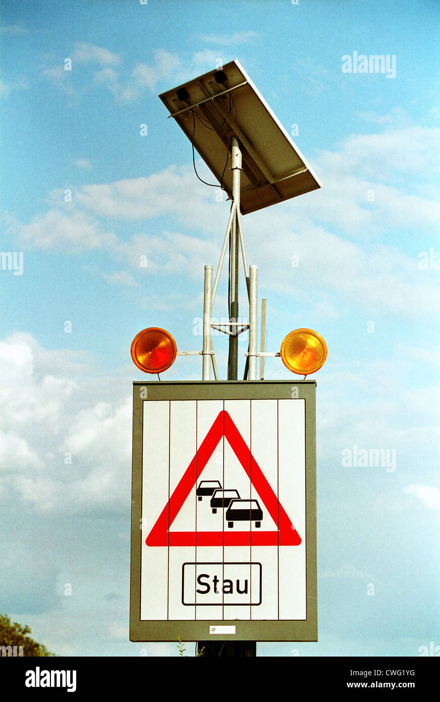 Queue Warning (character 124 to the Highway Code) on a motorway - Stock Image