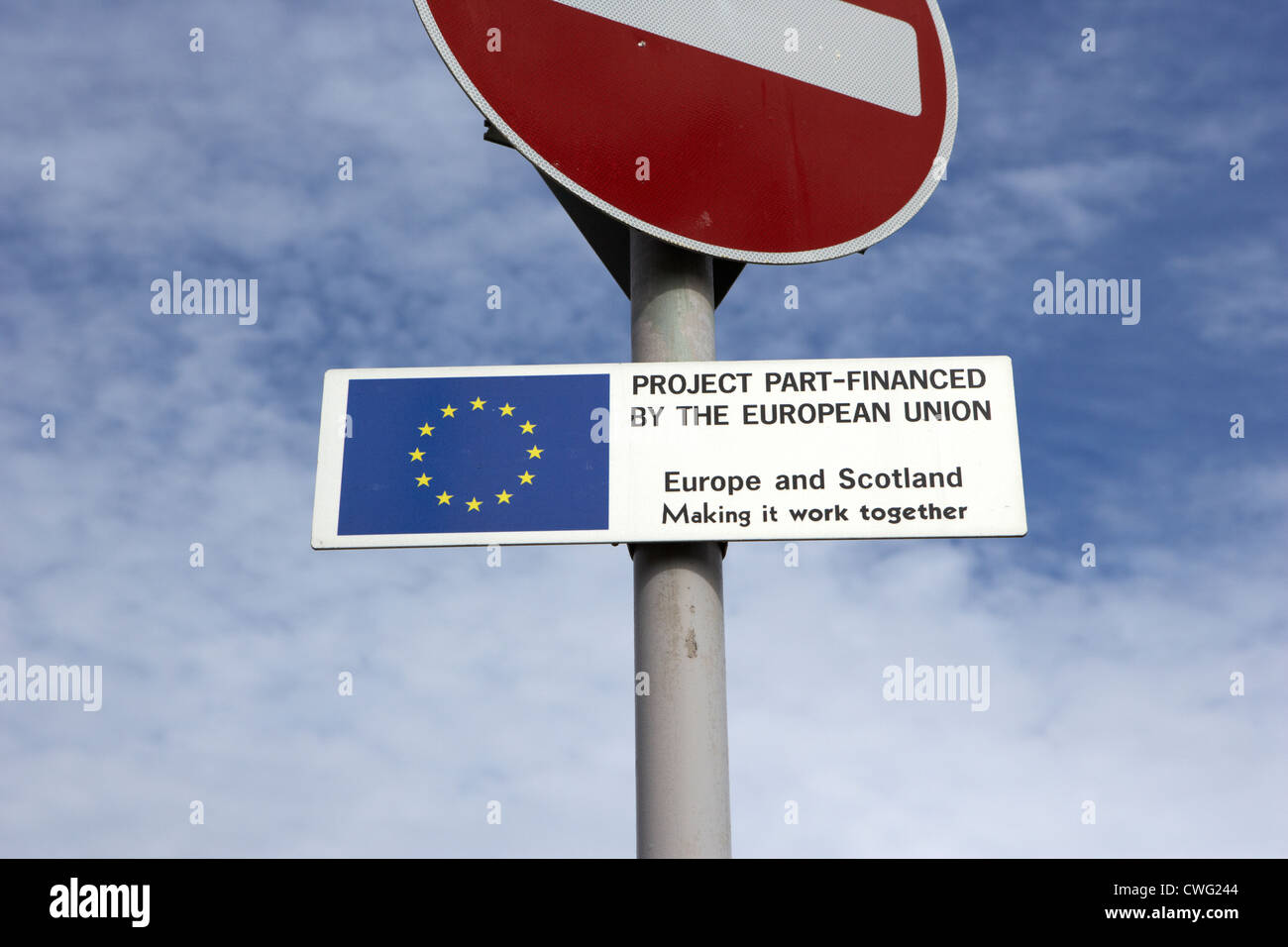 part financed by european union sign edinburgh, scotland, uk, united kingdom - Stock Image