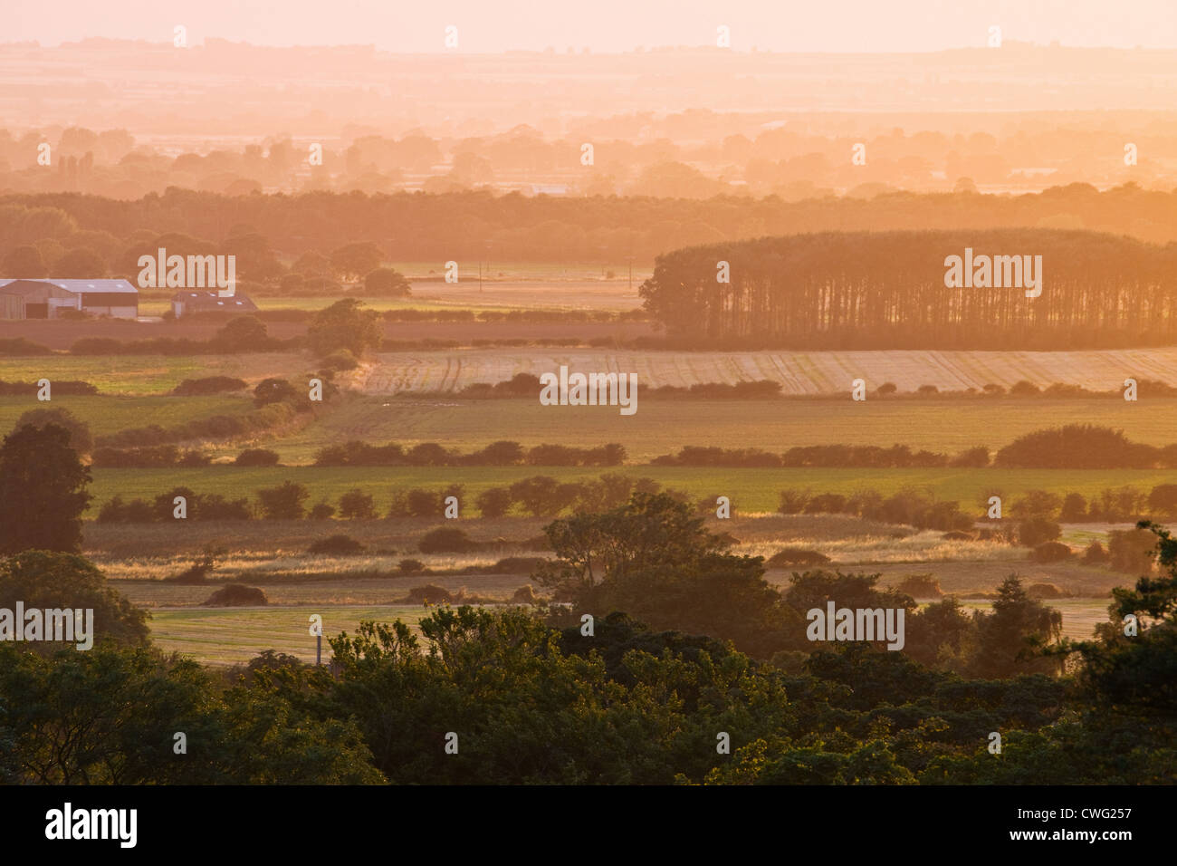 The view from All Saints' Church or the Ramblers Church in Walesby in the Lincolnshire Wolds AONB, England - Stock Image