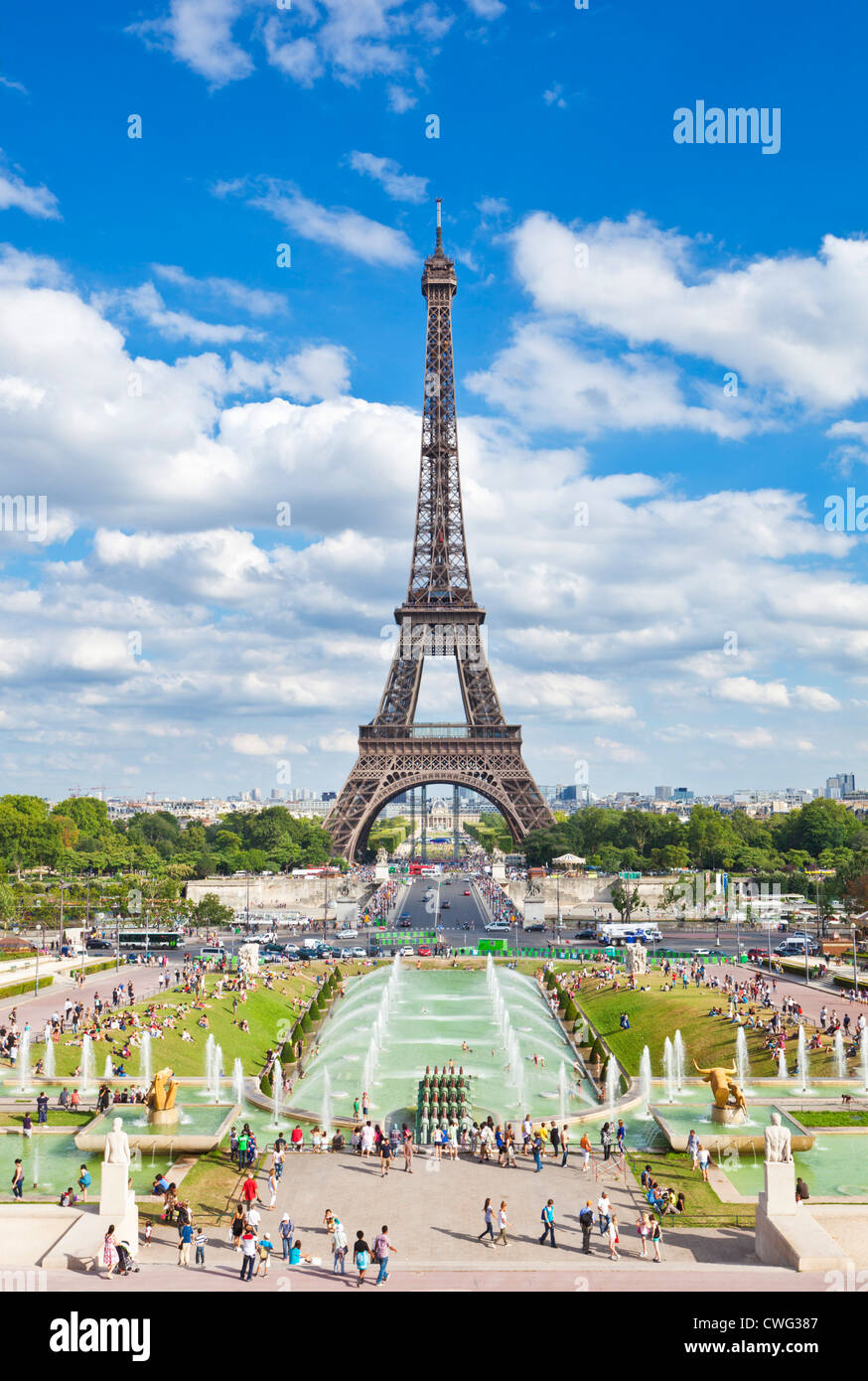 Eiffel tower Paris Eiffel tower from the Trocadero fountains France Europe EU - Stock Image