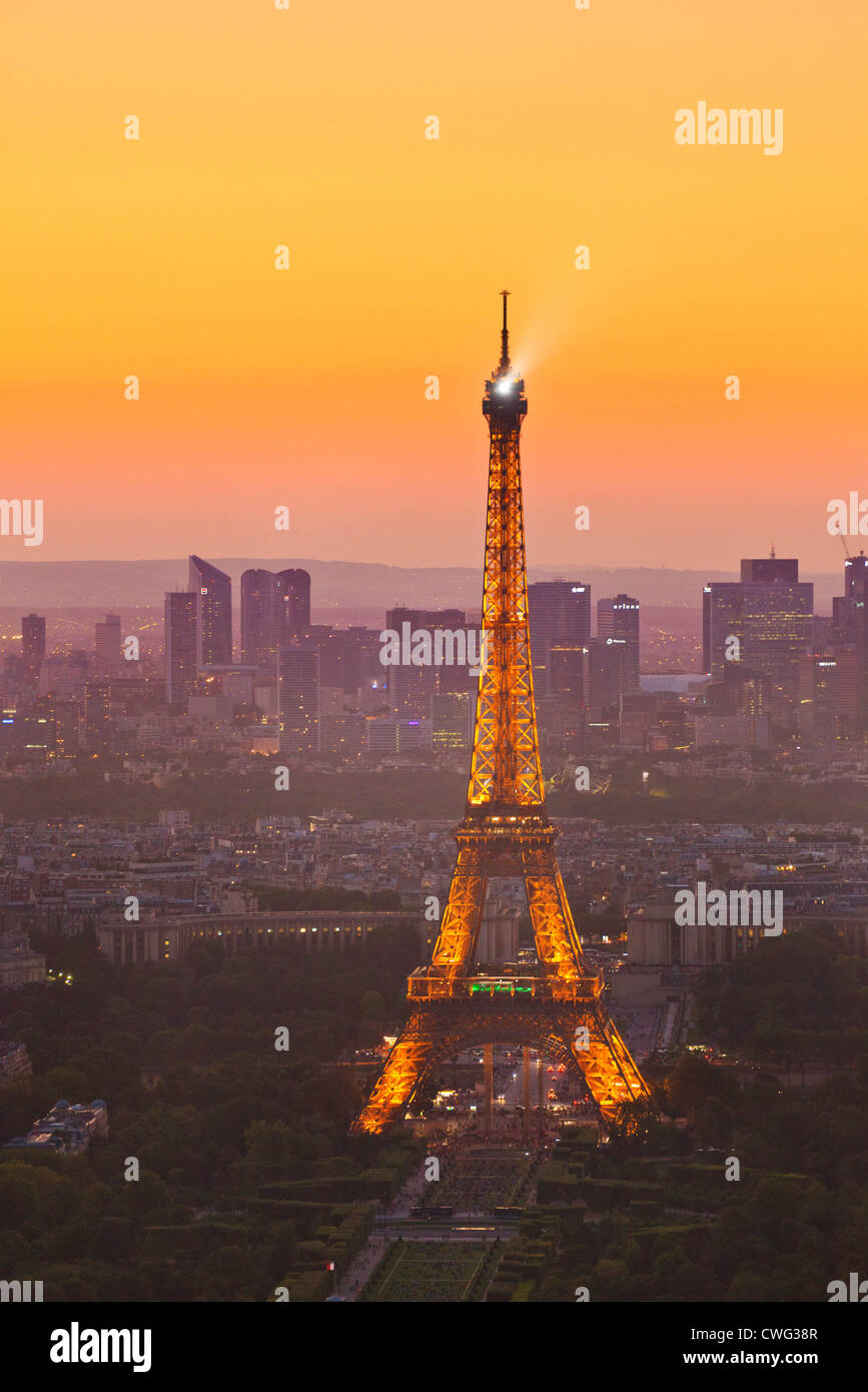 Paris skyline at sunset showing the Eiffel tower and surrounding areas France EU Europe Stock Photo