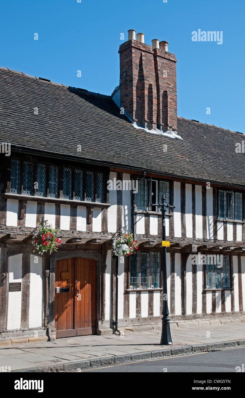 Medieval black and white half timbered medieval building on Church Street Stratford upon Avon England Stock Photo