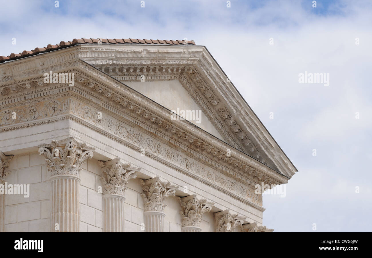 Detail Of Maison Carree Roman Temple Known As The Square House Showing The  Tympanum And Corinthian