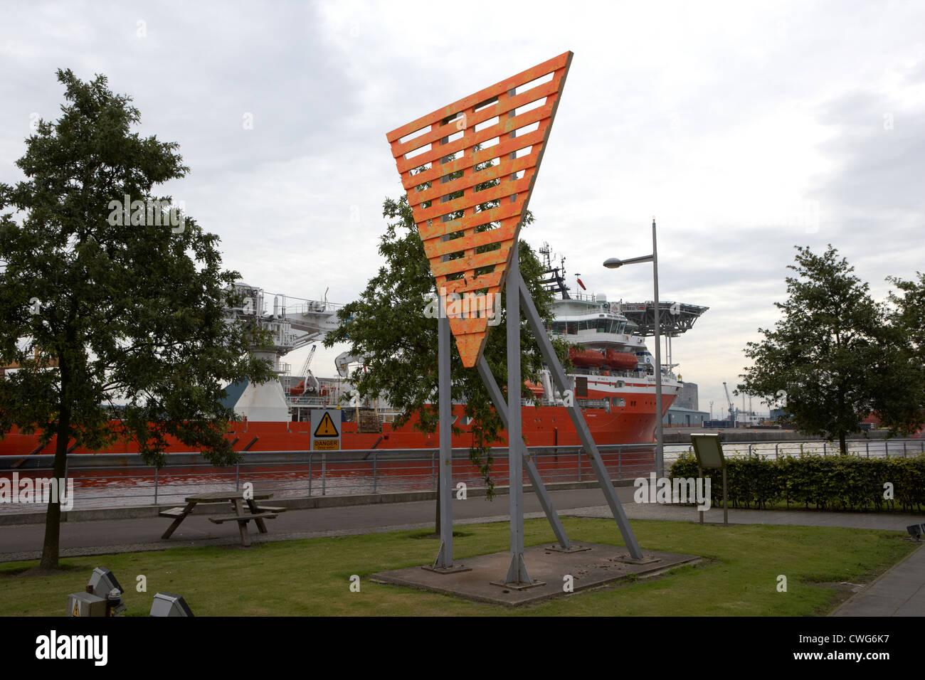 inverted orange triangle land shore navigation marker port of leith edinburgh, scotland, uk, united kingdom - Stock Image