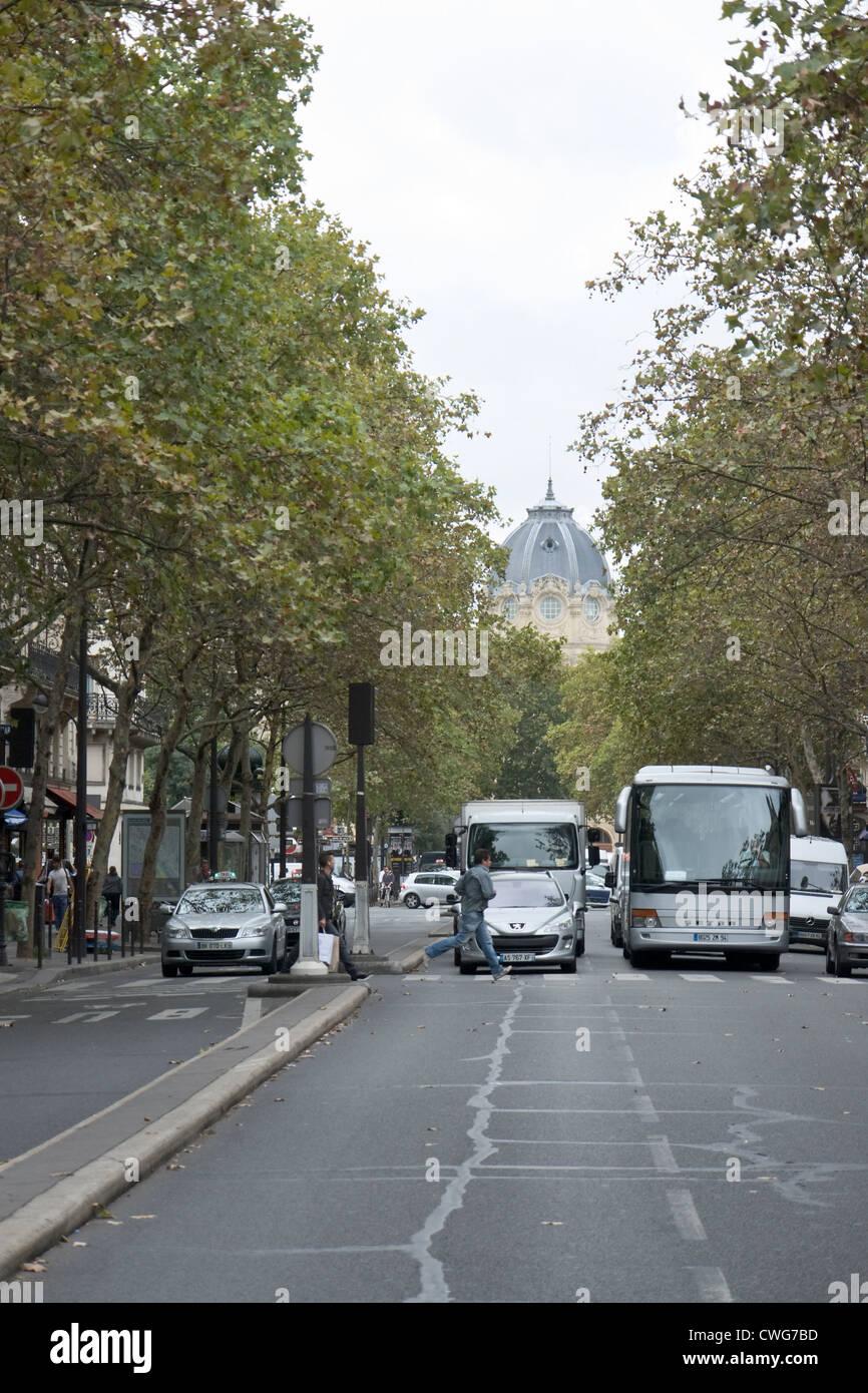 Perspective view of Boulevard de Sébastopol, Paris - Stock Image