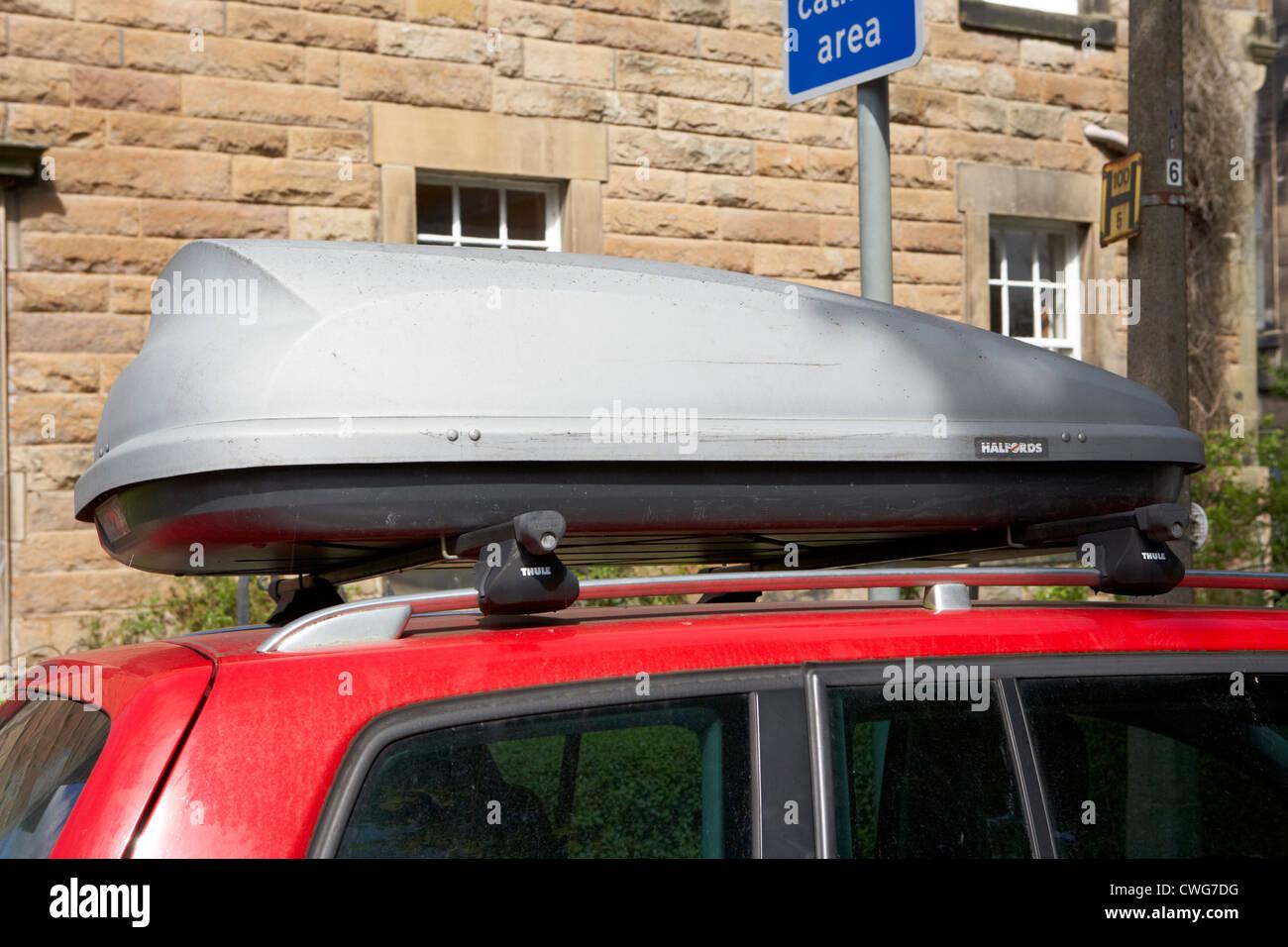 car storage roof box on roof rack on top of a car edinburgh scotland uk united kingdom & car storage roof box on roof rack on top of a car edinburgh Stock ...
