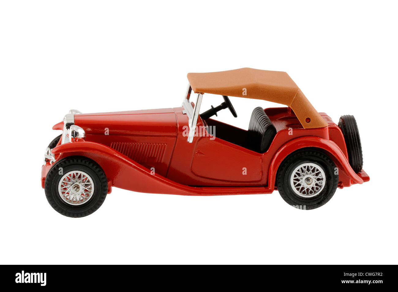 1945 MG TC Midget Open Two Seater Touring Sports Car - Slab Fuel Tank, rear mounted spare wheel, swept wings - scale - Stock Image