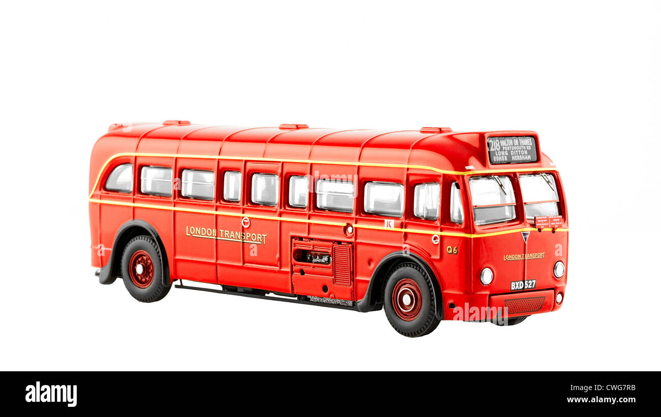AEC Q4Q Single Deck Omnibus - 1935 to 1950s. Red London Transport livery Route 218 via Walton-on-Thames - Scale - Stock Image