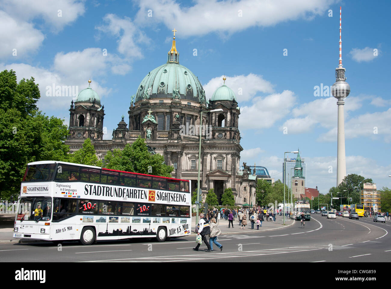 the berlin cathedral and space needle with a berlin city tour bus stock photo 50144789 alamy. Black Bedroom Furniture Sets. Home Design Ideas