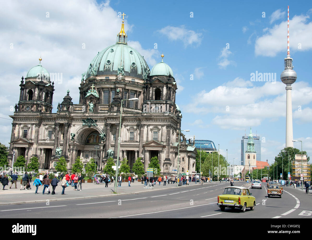 the berlin cathedral and space needle berlin germany stock photo 50144798 alamy. Black Bedroom Furniture Sets. Home Design Ideas