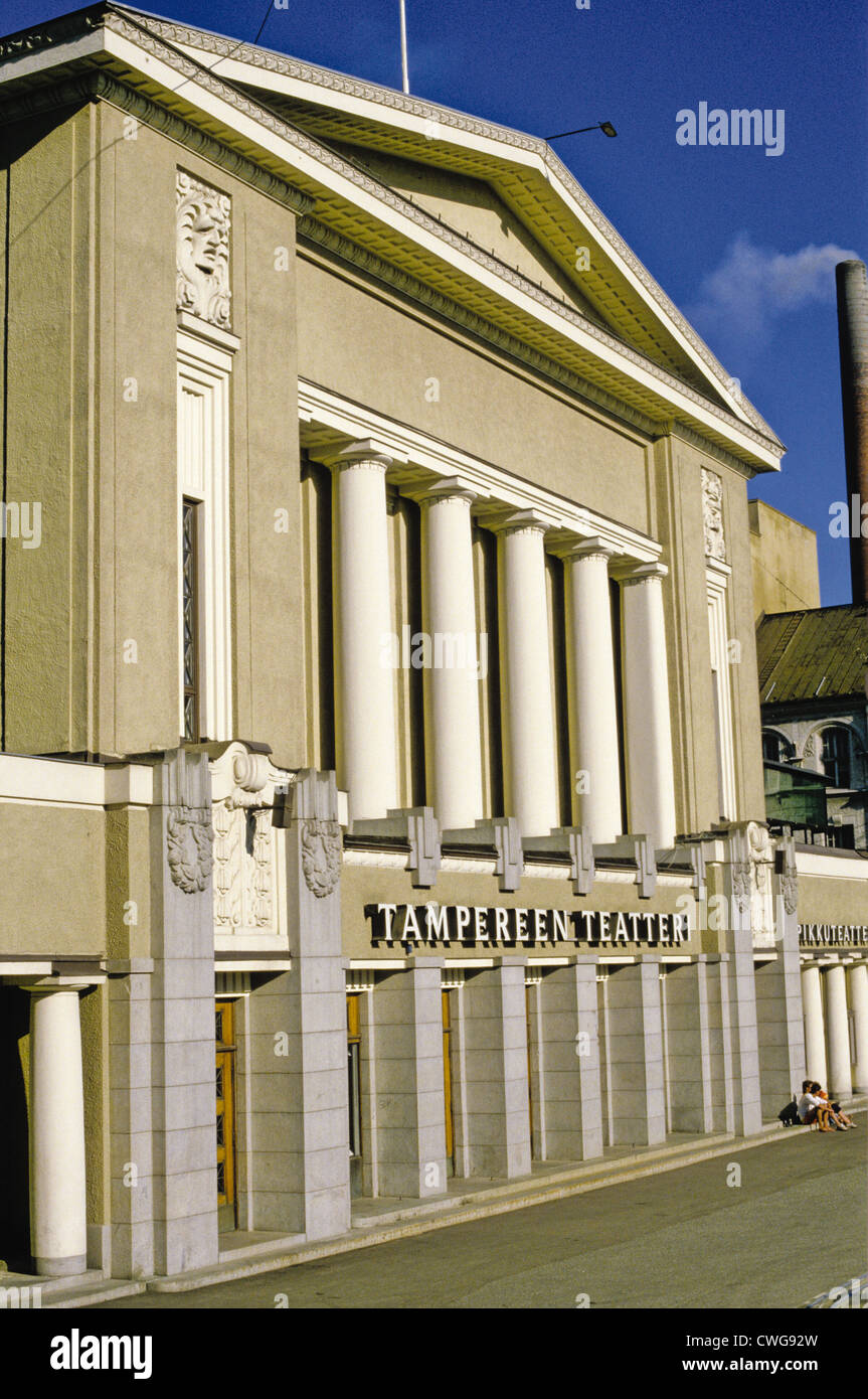 Main entrance to the 1913 Tampere Theatre building (Tampereen Teatteri) in Tampere, Finland Stock Photo
