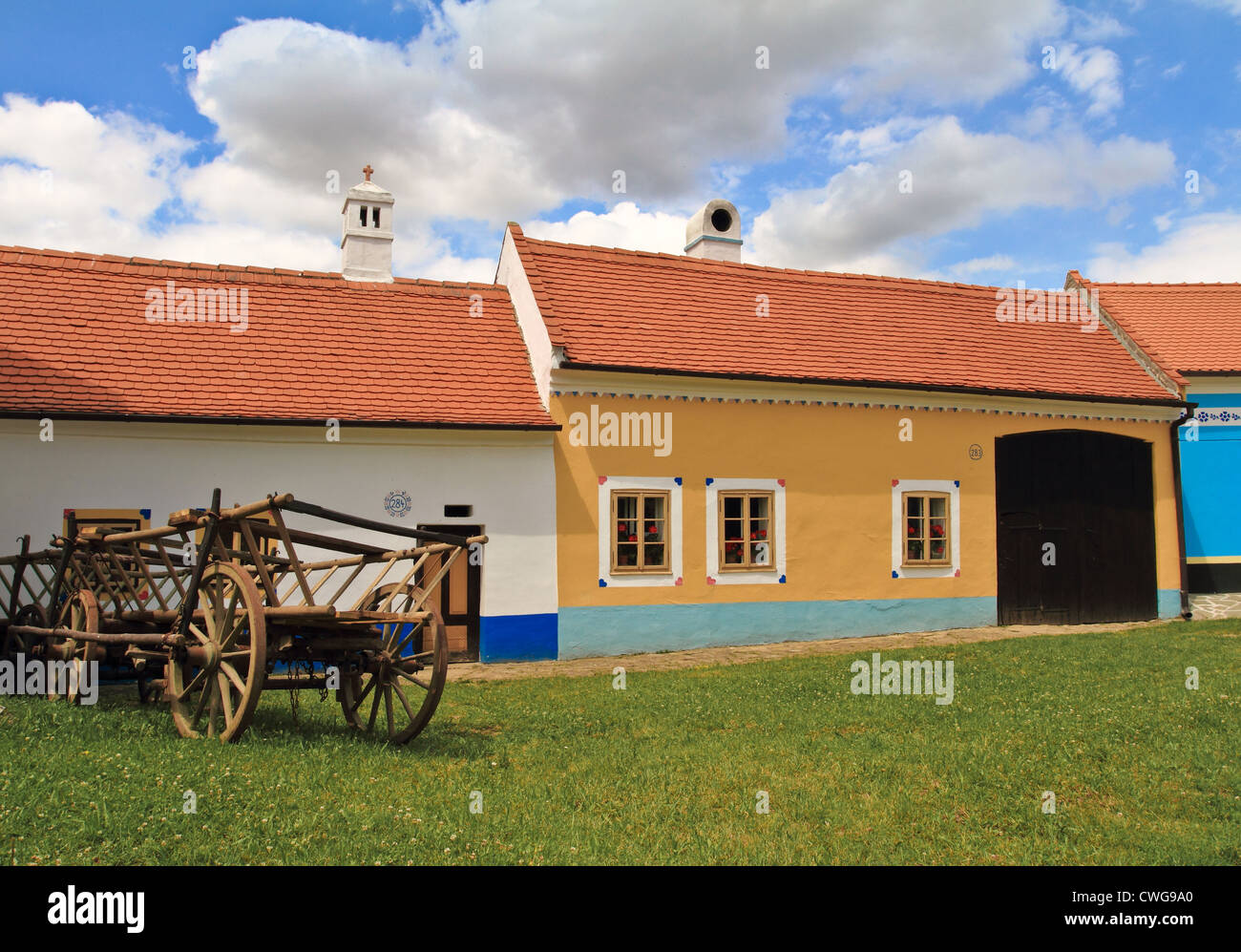 old country houses in summer - Stock Image
