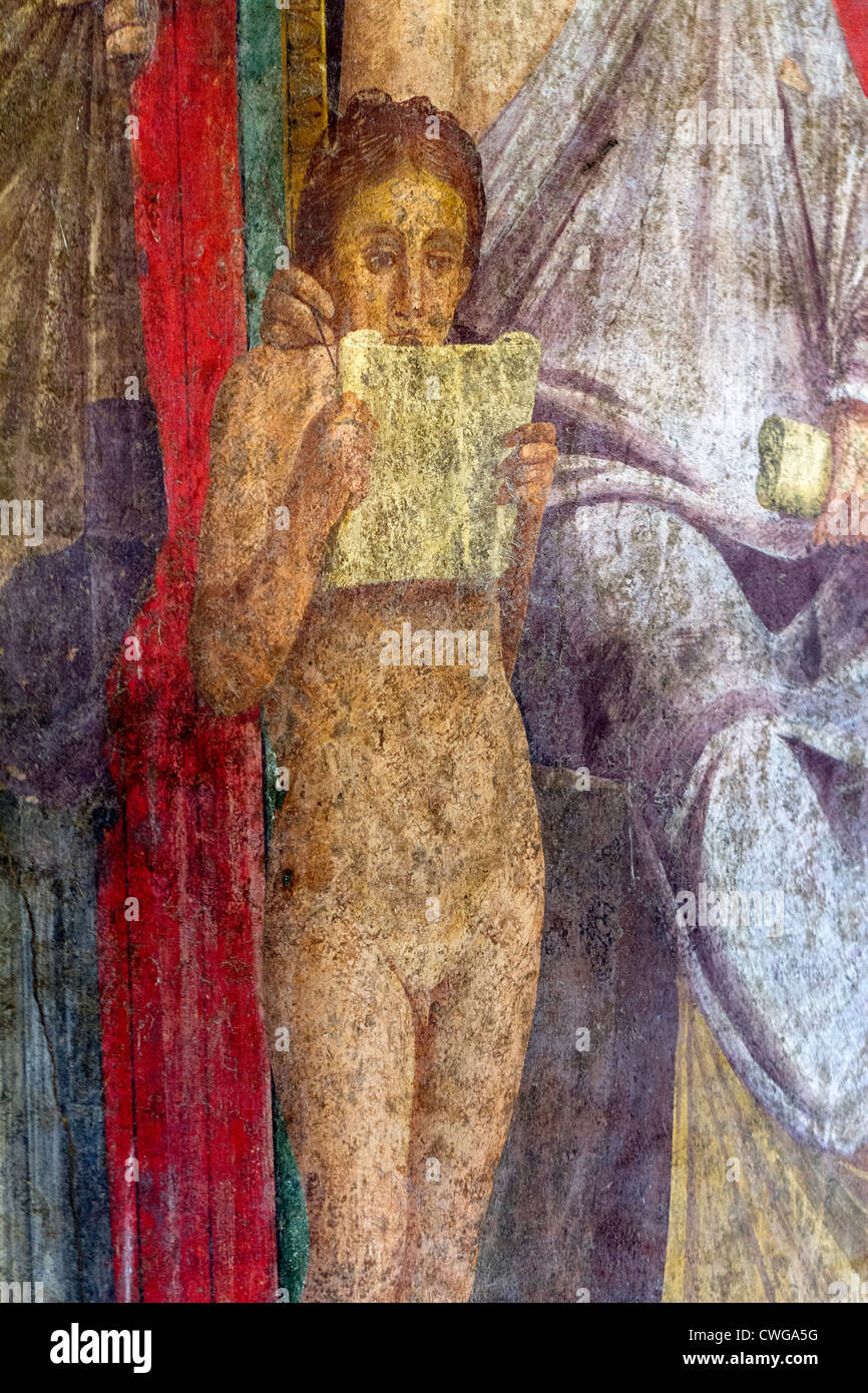Ancient Roman mural at the Roman city of Pompeii - detail from the House of Mysteries - Stock Image