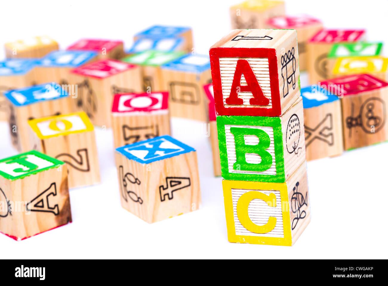 Children's blocks spelling ABC Stock Photo