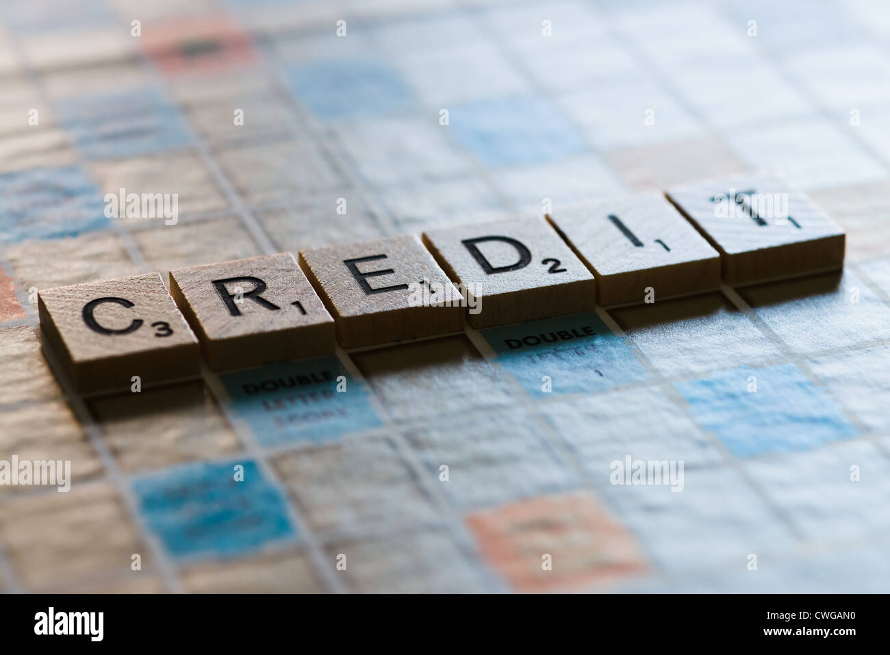 Letter tiles spelling the word CREDIT - Stock Image