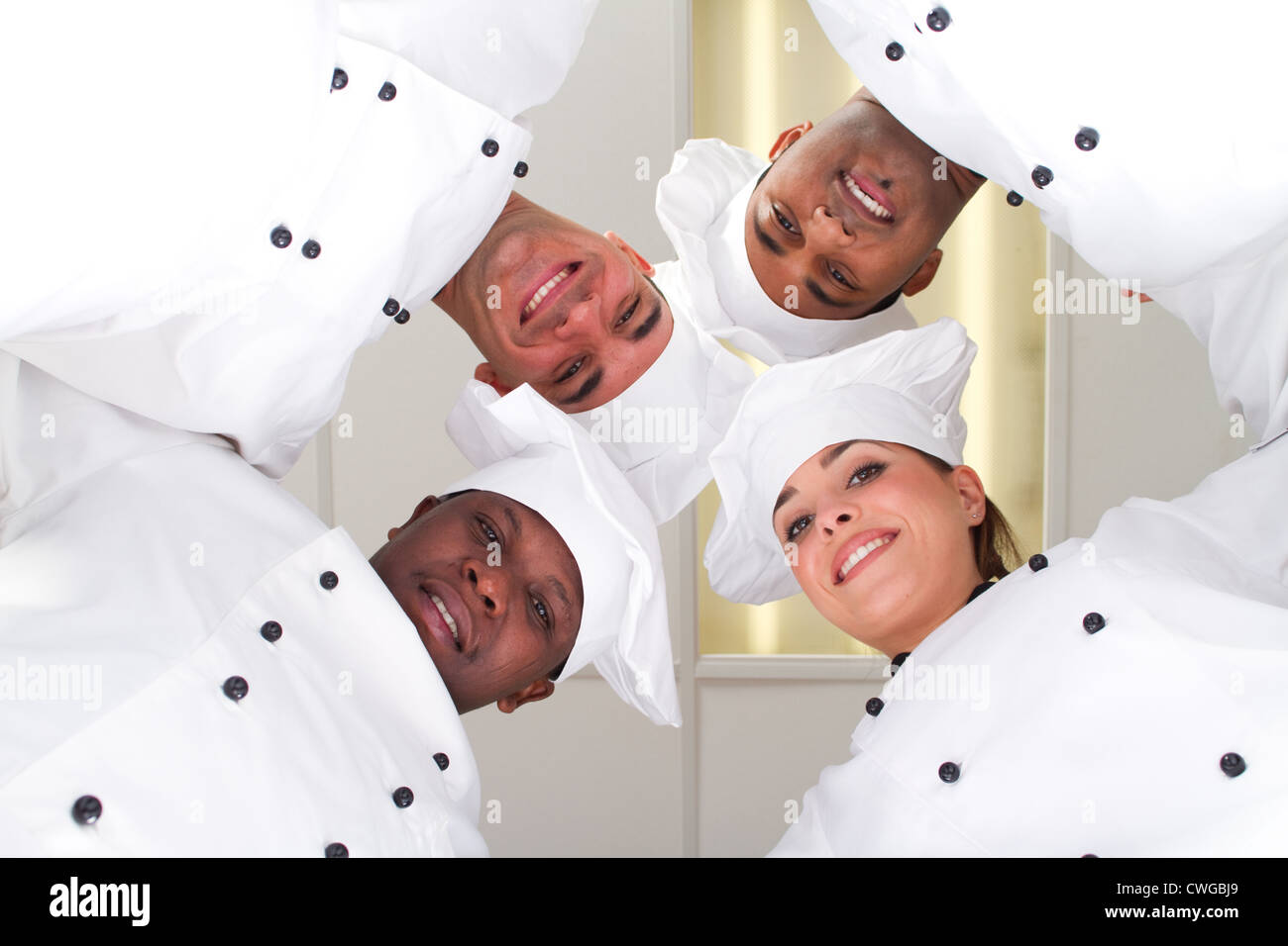 underneath of group of professional chefs heads together form a team - Stock Image