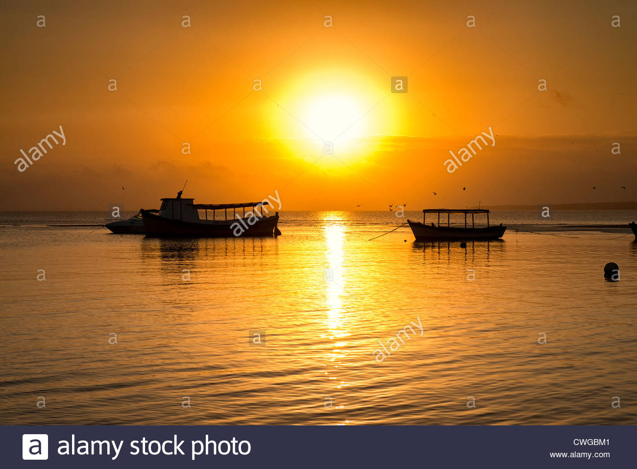 Nice sunset in Honey Island (Ilha do Mel), Parana state, Brazil. - Stock Image