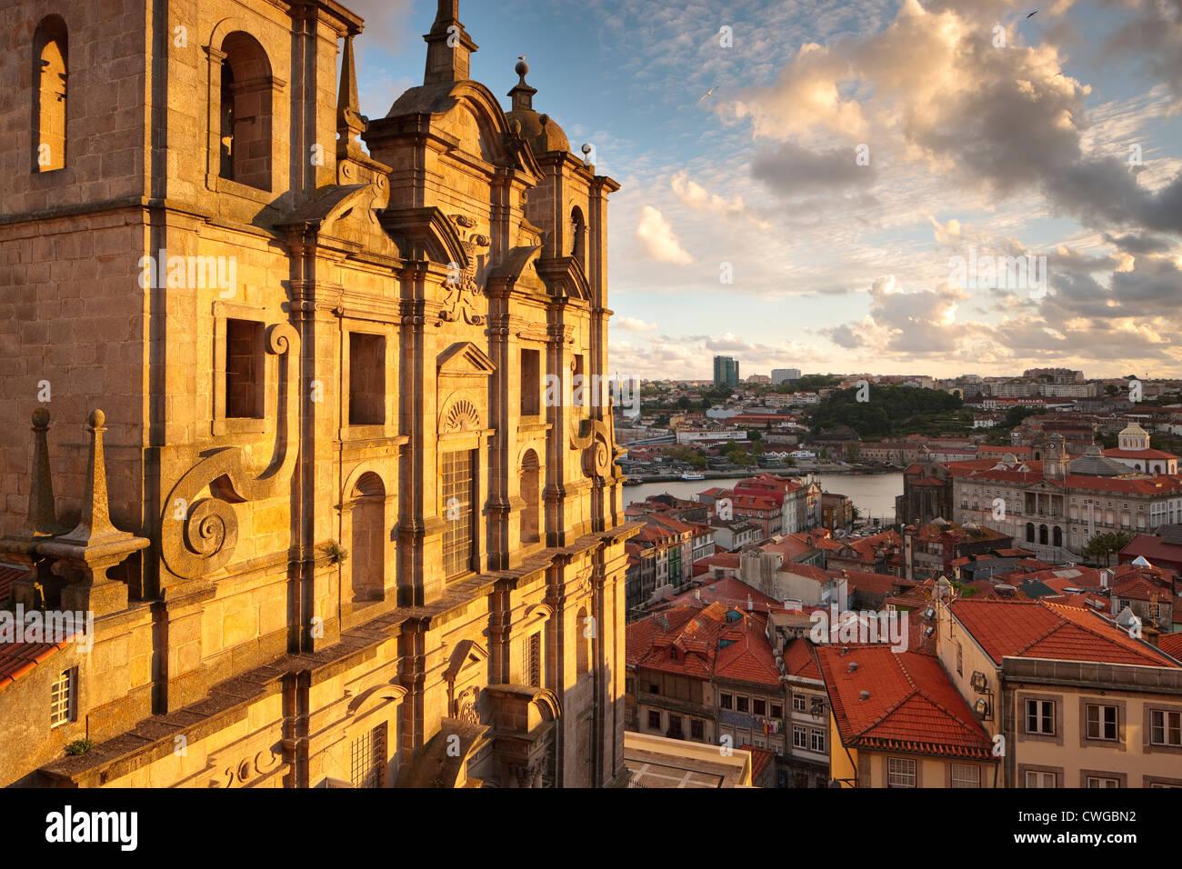 Evening light Igreja dos Grilos Ribeira Porto Portugal - Stock Image