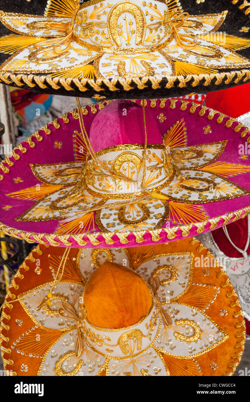 Colorful sombreros for sale at Market 28 (Mercado 28), Cancun, Yucatan Peninsula, Quintana Roo, Mexico Stock Photo