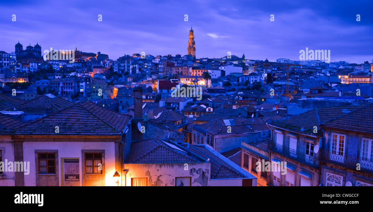 Overview to Torre dos Clerigos Porto Portugal at twilight - Stock Image